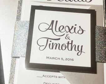 Glitter Wedding Invitations, Elegant Wedding Invitations, Modern Wedding Invitations, Formal Wedding Invitation, Purple and Silver Glitter