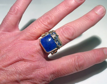 Sandra DINI Italian Brutalist Modernist 12K Rose Gold and Sterling Silver Lapis Lazuli and DIAMOND Ring