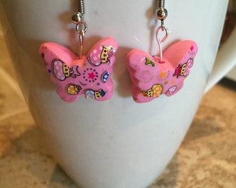 Butterfly earrings, pink earrings, dangle earrings, kids earrings