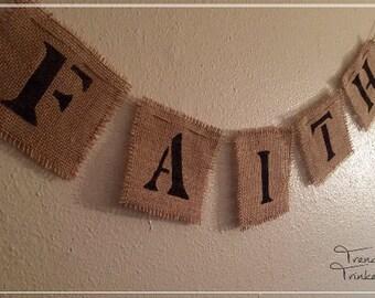 Faith Burlap Wall Hanger, Faith Wall Hanger, Faith Sign, Faith Decoration, Burlap Sign, Burlap Wall Hanger