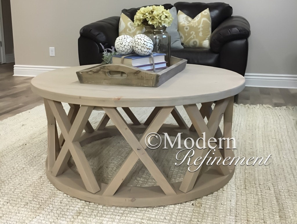 Gorgeous rustic round farmhouse coffee table Farmhouse coffee tables