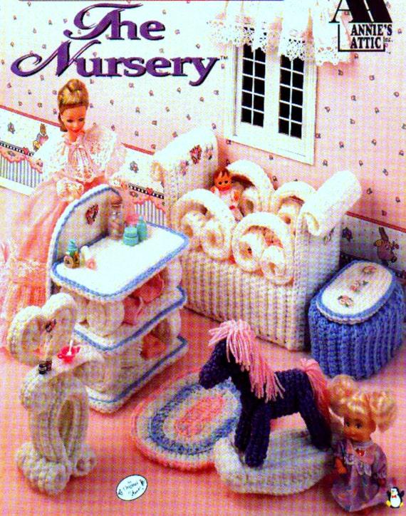 vintage crochet pattern pdf fashion doll home decor barbie sindy house nursery baby bed rocking. Black Bedroom Furniture Sets. Home Design Ideas