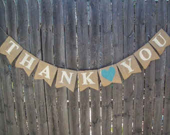 Ivory and Turquoise BLUE THANK YOU Burlap Wedding Banner Photo Prop Garland Bunting Reception