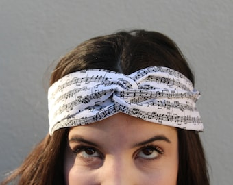 Music Notes Twisted Elastic Headband HeadWrap For Her For Children Geekery