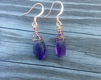 amethyst and copper wire wrapped earrings amethyst earrings wire wrapped February birthstone earrings February birthday gift purple stone