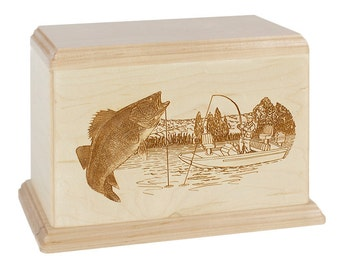 Maple Walleye Boat Fishing Wood Cremation Urn