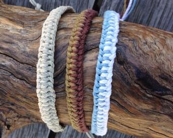 Handmade Hemp Friendship Bracelet | Anklet | Wristband, in a Zipper pattern