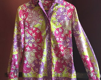 Vintage 60s Emilio Pucci Cotton Blouse/Long Sleeved