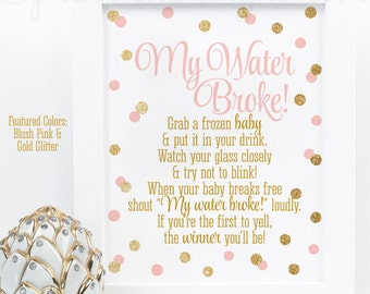 My Water Broke! Baby Shower Ice Cube Game, Blush Pink Gold Glitter Baby Girl