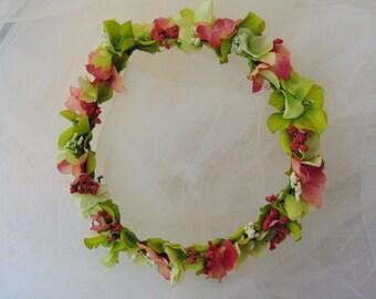 Hydrangea Spring Flower Crown Pink and Green Garden Wreath