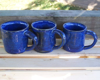 3 Hand made pottery mugs, glazed and fired to cone 6 stoneware clay, food safe glazes