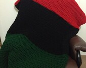 Red Black and Green Crochet Blanket for Full Size Bed FREE SHIPPING