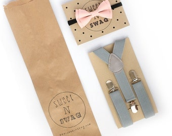 SUSPENDER & BOWTIE SET.  Light grey suspenders. Blush pink bow tie. Newborn - Adult sizes.