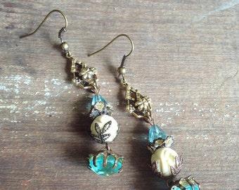Upcycled Boho Chic Earrings, Flea Market Style Earrings, Romantic Shabby Chic Repurposed Earrings