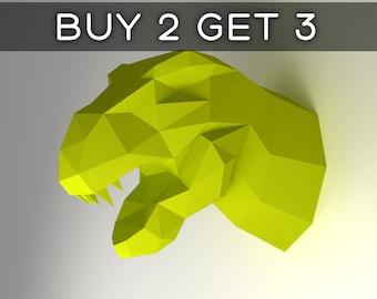 Dinosaur Head - 3D papercraft model. Downloadable DIY template