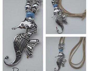 long adjustable necklace, seahorse