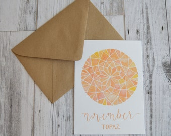 November Birthday Card - November Birthstone Card - Watercolor Topaz Card - Watercolor Birthday Card - Watercolor Birthstone Card