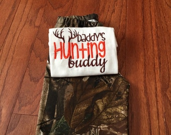 Daddys hunting buddy, little hunter, hunt embroidered saying bodysuit