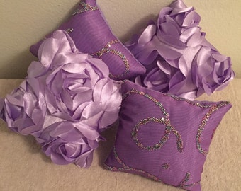 """Doll Furniture - (4) Lavender Pillows - FREE SHIPPING - fits 18"""" American Girl Dolls"""