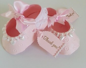 Set Of Ten Pink Shoe Favors With Thank You Tags / Baby Shower Favors / Shower For Baby Girl