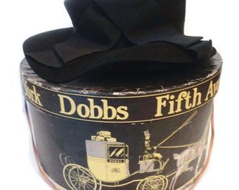 Vintage Dobbs Black Felted Wool Ladies Brimmed Cloche Hat And Original Box