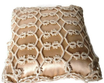 Victorian Pincushion Satin Tatted Lace Emory Filled