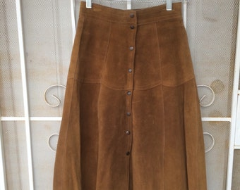 REDUCED*** 1960s 70s caramel tan suede button down highwaisted leather vintage skirt 60s 1970s