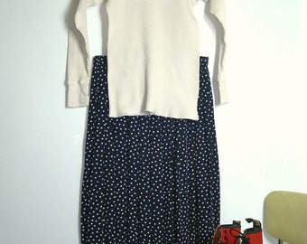 Rare Vintage Appleseed 90s Navy Blue and Cream Polkadot Skirt~ 12 Petite ~Size US Women's Medium to Large ~ Dimensions Below~