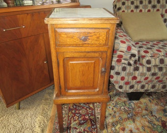 ANTIQUE OAK NIGHTSTAND with Marble Top