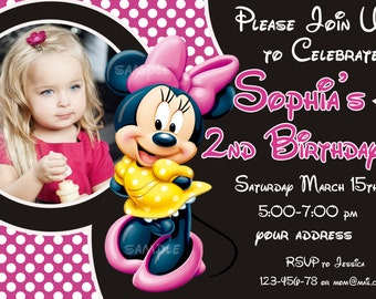 SALE Minnie mouse Birthday Invitation, Minnie mouse Invitation, Minnie mouse Birthday card- Digital file