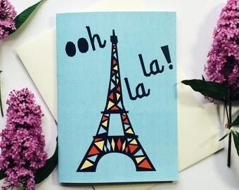 Ooh La La! Eiffel tower - Blank greeting card