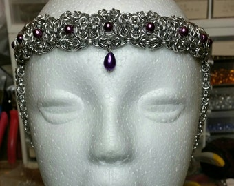 Handmade Medieval style chainmaille headdress for hand tying ceremony  or a blushing bride