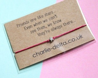 Friendship bracelet - long distance friendship - wish bracelet - friendship gifts - heartfelt quotes - best friends
