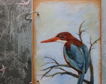 Blue bird notebook journal. Original acrylic painting on sketchbook with binding rings.