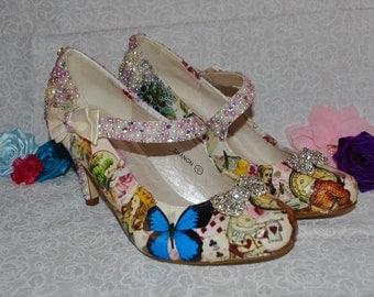 Alice in Wonderland Crystal Mary Jane Low Heel Bridal Wedding Shoes
