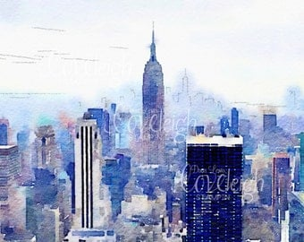 Watercolor New York City Skyline Art Digital Photo