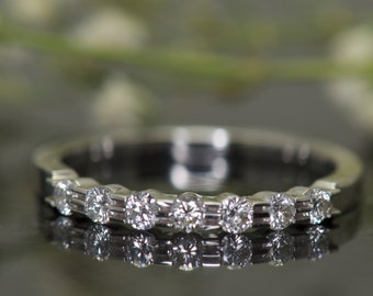 Bar Set Diamond Wedding Band in 14k White Gold, 2.3mm Wide, 0.33ctw E-F Color VS Clarity Diamonds, 7-Stone, 3/8 Eternity, Kendall