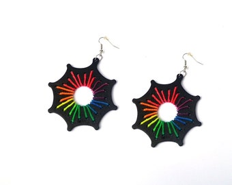 Festival earrings,UV reactive,Rave party jewelry,Psychedelic earrings,Hippie jewelry