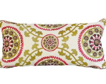 Kravet Medallion Embroidered Decorative Pillow Cover - Lumbar Pillow - Throw Pillow - Toss Pillow - Solid Taupe Velvet Back - 10x20