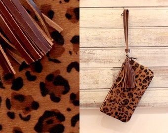 Leopard print clutch, Animal printed clutch, Leopard wallet, Fur clutch, Pouch, Evening clutch
