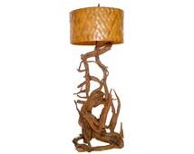 Mid Century Modern Gnarled Wood Driftwood Floor Lamp Original Basket Weave Shade