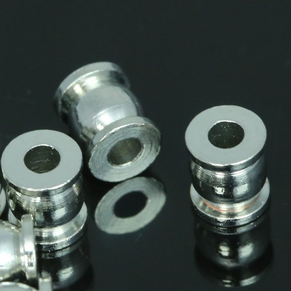 15 Pcs 7x6 mm (hole 2,8 mm)  silver tone brass cylinder industrial brass findings spacer bead bab2.8