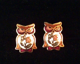 Vintage cloisonne owl stud earrings, owl studs, enamel earrings, bird earrings, costume jewellery, vintage jewelry
