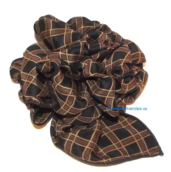 Becky Bows ~OOAK Barrette Hand crafted huge scarf BIG hair bow Women or Girls giant brown black check