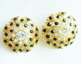 Vintage Monet Earrings / Large Clip Earrings / Statement Earrings / Monet Jewelry / Signed Jewelry / Designer Jewelry / Rhinestone  Jewelry