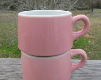 Vintage Pink Shenango Coffee Cups / Vintage 1950's Restaurant Ware Mugs / Pink Coffee Mugs / Vintage Diner