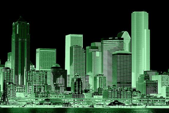 Emerald city skyline photographlandscape photographyinstant for Emerald city nickname