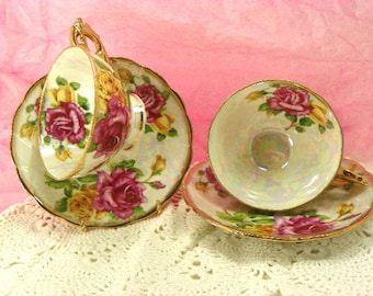 Tea Set for 2 Victorian Rose Cups and Saucers Vintage Pink and Yellow Roses