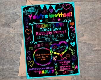 Teen Tween Rainbow Glow Neon invitation! digital  Sleepover  Slumber party  Dance Birthday party Peace signs & doodles!