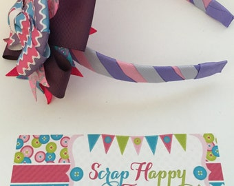 Pink, Lavender, and Periwinkle 3-in-1 bow headband
